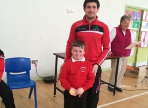 RONAN MCCLOSKEY VISITING ST ANNES PS CORKEY FOR CENTENARY CELEBRATIONS
