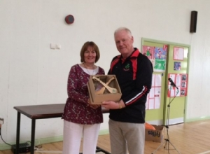MRS MCKEOWN PRINCIPAL OF ST ANNES PS CORKEY WITH MR JOHN CAMPBELL CHAIRMAN