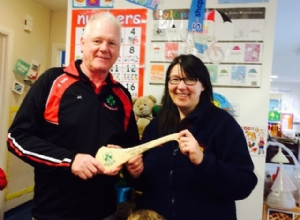 LOUGHGIEL GAC CHAIRMAN JOHN CAMPBELL WITH MRS CATHERINE SANDS LOUGHGIEL COMMUNITY NURSERY UNIT