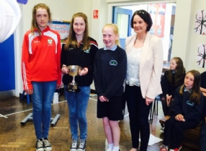 LOUGHGIEL U14 CAMOGS Winners of the All Ireland Feile A Purcell Cup visiting the pupils