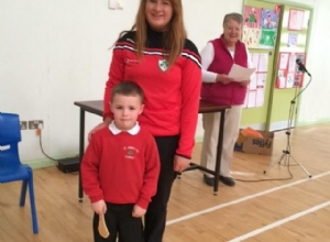 SENIOR CAMOG EMMA MCMULLAN VISITING THE PUPILS OF ST ANNES PS CORKEY